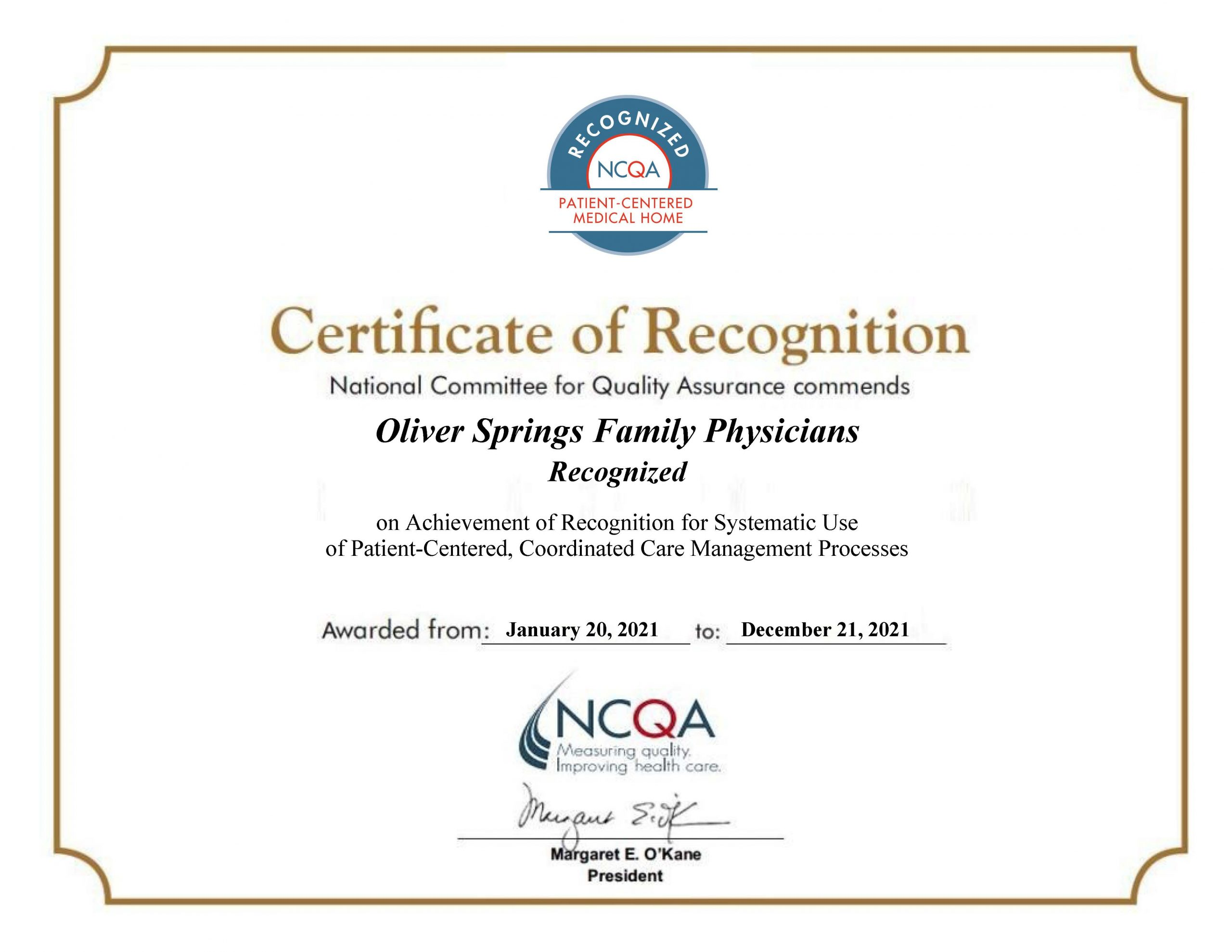 Oliver Springs Family Physicians Recognized as PCMH